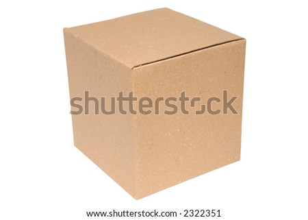 Blank cardboard box isolated on a white background with clipping path