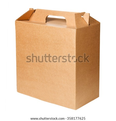 Blank cardboard box isolated on white  - stock photo