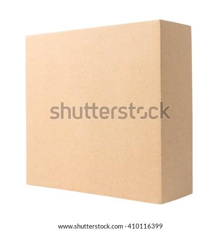 Blank cardboard box isolated on white background   - stock photo