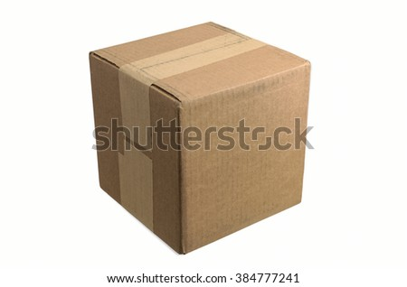 Blank Cardboard Box Taped and Ready for your Copy - stock photo
