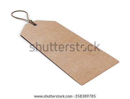 Blank cardboard label isolated on white background. Template label close-up. 3d rendering.