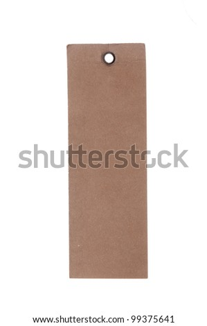 blank cardboard paper label isolated on the white background