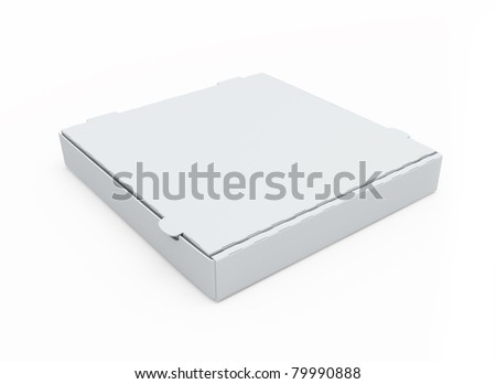 Blank cardboard pizza box isolated on white - stock photo