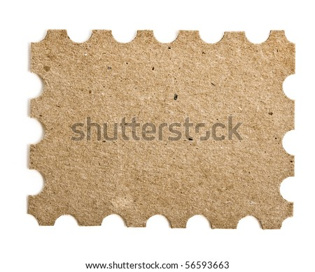 Blank cardboard post stamp  isolated on white - stock photo