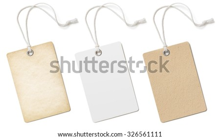 Blank cardboard price tags or labels set isolated  - stock photo