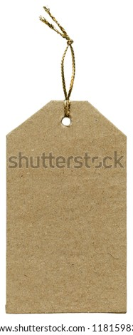 Blank cardboard tag isolated on white background - stock photo