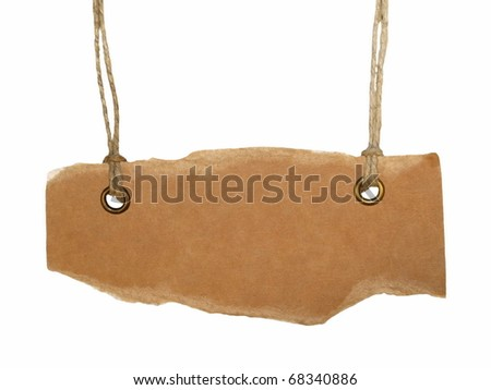 Blank cardboard tag tied isolated on white background - stock photo
