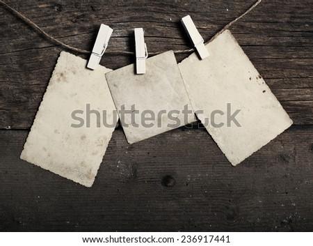 Blank cards on a clothesline - stock photo