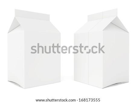 blank carton. 3d render on white background. - stock photo