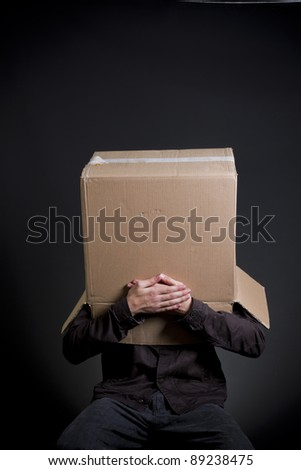Blank cartoon head, cardbord characters.Covered his mouth. - stock photo