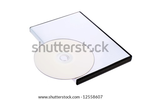 blank case DVD / CD and disk on white background - stock photo