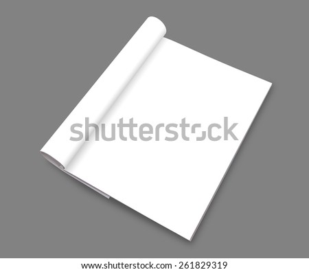 Blank catalog,brochure, magazines,book mock up  ( with 3 layer clipping path : All book,Page,Roll) - stock photo