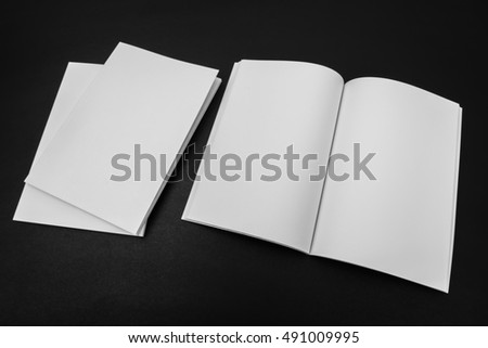 Blank catalog, magazines,book mock up on black background