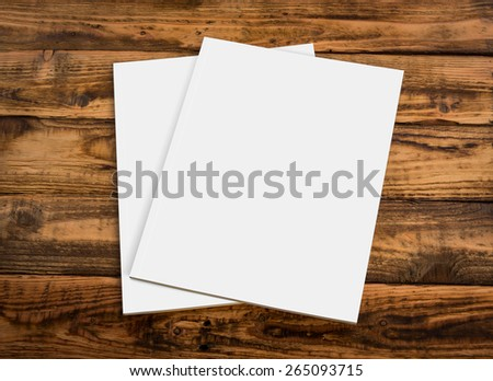 Blank catalog, magazines,book mock up on wood background ( with 2 layer clipping path : Font page and  Back page) - stock photo