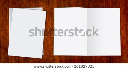 Blank catalog, magazines,book mock up on wood background  ( with separate layer clipping path : Front book,Left page,Right page,and Staple)  - stock photo