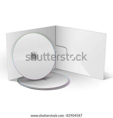 Blank CD DVD in paper case - stock photo