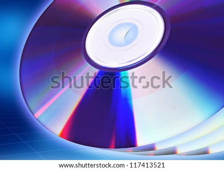 Blank CD or DVD illustration template. Great starting image for illustrating the concept of CD/DVD as content holder of digital data. - stock photo