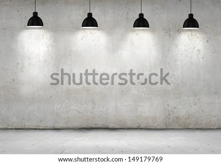 Blank cement wall with place for text illuminated by lamps above - stock photo