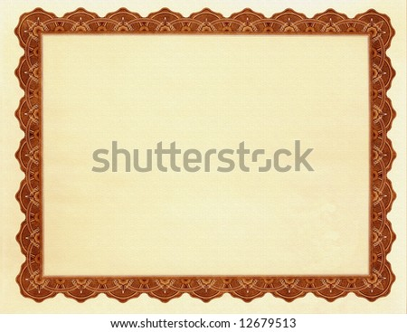 Blank Certificate - stock photo