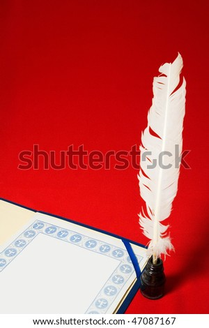 Blank certificate and old writing tools - stock photo