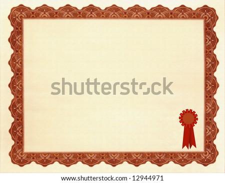 Blank Certificate / Award - stock photo