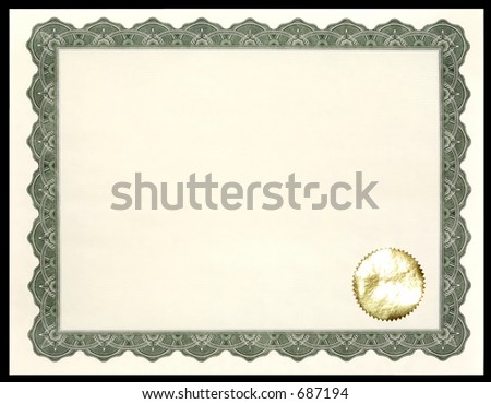Blank Certificate / Award - stock photo