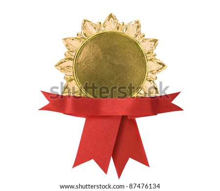 Blank certificate with ribbon, path in side - stock photo