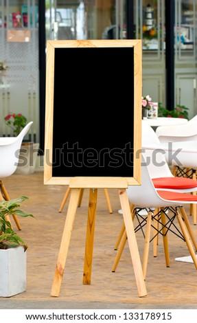 Blank chalk board. - stock photo