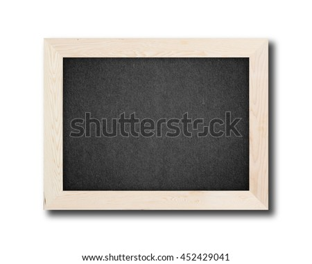 Blank chalkboard in wooden frame isolated on white background - stock photo