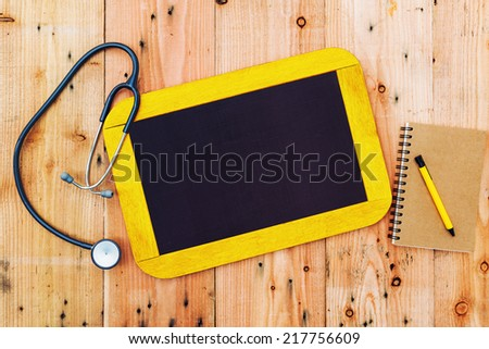 Blank chalkboard on background, writing for medical text. - stock photo