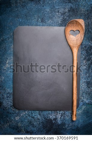 Blank Chalkboard Cooking Spoon On Rustic Stock Photo 370169591
