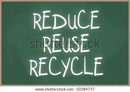 Blank chalkboard with wooden frame and the text reduce, reuse, recycle - stock photo