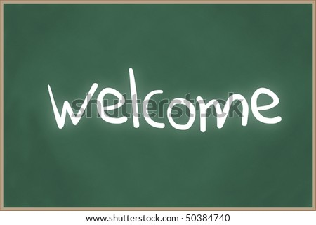 Blank chalkboard with wooden frame and the text welcome - stock photo