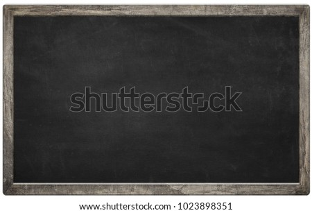 Blank chalkboard with wooden frame isolated on white background