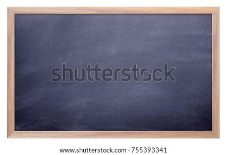 Blank chalkboard with wooden frame isolated on white background.