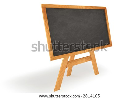 Blank chalkboard with wooden frame isolated over a white background. This is a 3D rendered picture. - stock photo