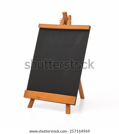 Blank chalkboard with wooden stand. Isolated on the white background. - stock photo