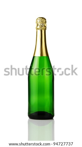 Blank champagne bottle isolated on white background - stock photo