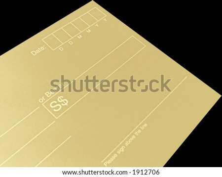 blank check on black - stock photo
