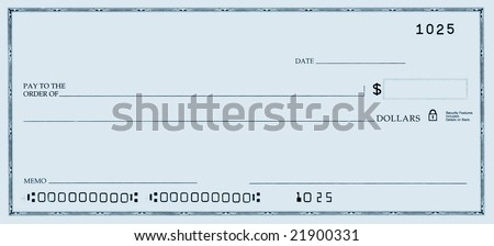 Blank check with false numbers in a blue tone. - stock photo