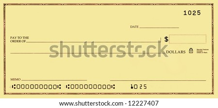 Blank check with false numbers in a gold tone. - stock photo