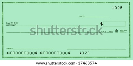 Blank check with false numbers in a green tone. - stock photo