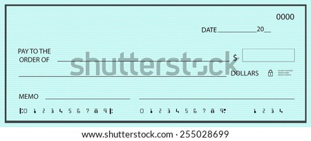 Blank check with false numbers on a blue background