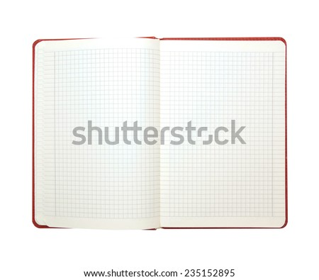 Blank checkered lined notebook with red cover opened isolated on white background - stock photo