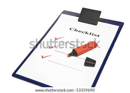 Blank checklist and red marker - stock photo