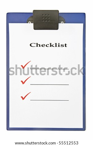 Blank checklist on clipboard, with large red ticks, and room for text - stock photo