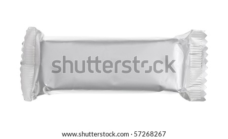 Blank chocolate or cereal bar on white background - stock photo