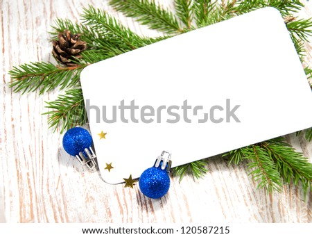 Blank Christmas card or invitation  with decorations - stock photo