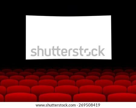 Blank cinema screen with empty seats - stock photo