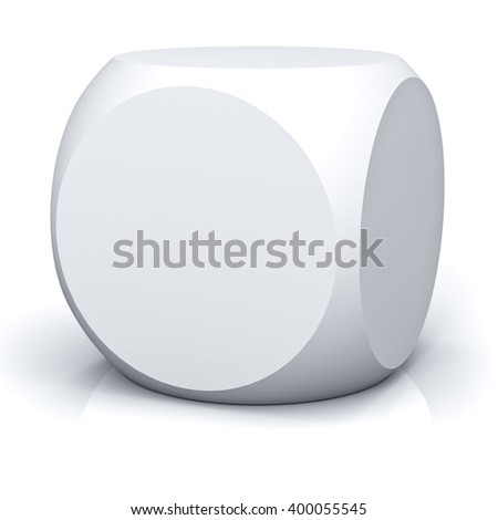 Blank circle faces box isolated on white background with reflection. 3D rendering.